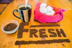 Café molido fresco fotografía de archivo