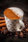 Café morno da especiaria do inverno fotografia de stock royalty free