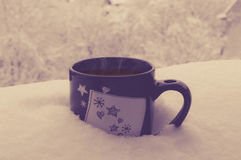 Café na neve Fotos de Stock Royalty Free