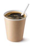 Café no copo descartável com colher plástica Fotos de Stock Royalty Free