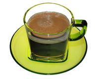 Café no copo do vidro verde Fotografia de Stock