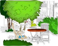 Café no jardim. Version2 parcialmente colorido Ilustração Royalty Free