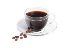 Café noir dans la cuvette transparente Photos stock