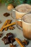 Café o chocolate caliente del cacao de la bebida de la Navidad con leche en una pequeña taza Rama de árbol de abeto, nueces, anís Imagen de archivo libre de regalías