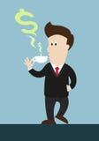 Café ou thé de boissons d'homme d'affaires cuisez à la vapeur dans COM de forme de symbole d'argent hors de la tasse Illustration Libre de Droits