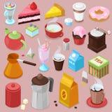 Café ou thé de boissons de vecteur de gâteau de dessert avec le petit gâteau cuit au four et le beignet doux dans l'ensemble d'il Photographie stock