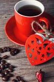 café para el día de tarjeta del día de San Valentín Foto de archivo