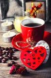 café para el día de tarjeta del día de San Valentín Imagen de archivo libre de regalías