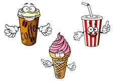 Café para llevar de la historieta, soda, helado Fotografía de archivo libre de regalías