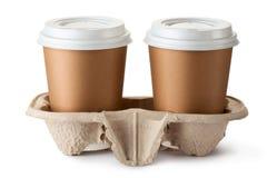 Café para llevar dos en tenedor Imagen de archivo libre de regalías