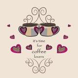 Café para los amantes, ejemplo del vector de dos cafés con los corazones Imagen de archivo