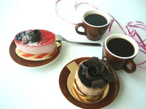 Café para o feriado do Valentim do St dois Fotografia de Stock