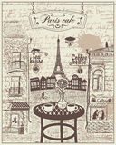 Café parisiense da rua com vistas da torre Eiffel ilustração royalty free