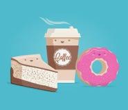 Café, pastel de queso y buñuelo La historieta divertida diseñó el ejemplo del vector Foto de archivo