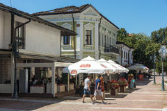 Café on a pedestrian street Lovech, Bulgaria Royalty Free Stock Photo