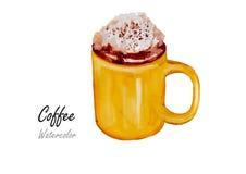 Café Peinture tirée par la main d'aquarelle sur le fond blanc, illustration de vecteur Photographie stock