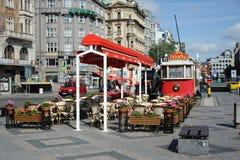 Café pequeno da área de Vatslavsky em Praga Foto de Stock Royalty Free
