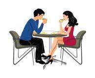 Café potable d'homme et de femme Image libre de droits