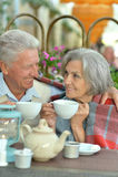 Café potable de couples supérieurs Photos libres de droits