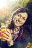 Café potable de femme Photographie stock