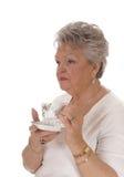 Café potable de femme aînée Photos libres de droits