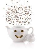 Café-potenciômetro com mão marrom as caras felizes tiradas do smiley Fotos de Stock Royalty Free