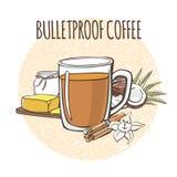 Café a prueba de balas Ejemplo del vector de una bebida untada con mantequilla del keto del cafeína y de sus ingredientes: aceite libre illustration