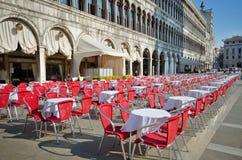 Café quadrado da rua de San Marco, Veneza Fotografia de Stock Royalty Free