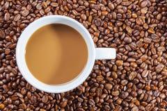 Café quente delicioso com creme em feijões de café Foto de Stock