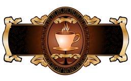 Café real do copo que anuncia a bandeira ilustração do vetor