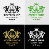 Café real Logo Template With Lion Crest Fotos de archivo