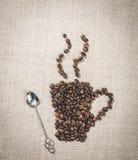 Café romántico Cucharita de café de la taza de café y del vintage Foto de archivo