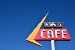 Café Route 66 del punto mediano Fotografía de archivo