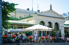 Café scene in Esplanade Park in Helsinki, Finland Royalty Free Stock Photo