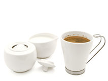 Café, shugar e de creme Fotos de Stock Royalty Free