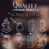 Café simple de croquis de vintage tiré par la main de griffonnage Images libres de droits