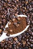 Café soluble dans la cuillère sur des grains de café Image libre de droits