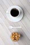 Café Sugar Cubes Spoon natural Imagenes de archivo