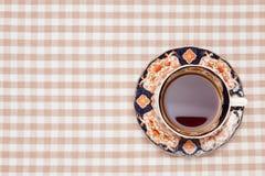 Café sur la nappe Images stock