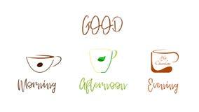 Café, té, chocolate - una buena bebida en cualquier momento del día ilustración del vector