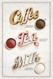 Café, té, y cartel de la leche. Imagen de archivo libre de regalías