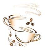 Café, tasse, grains de café Photos libres de droits