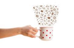 Café-taza con los medios iconos dibujados mano Fotografía de archivo libre de regalías