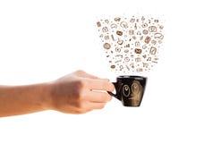 Café-taza con los medios iconos dibujados mano Imágenes de archivo libres de regalías