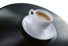 Café-taza en expediente de vinilo imágenes de archivo libres de regalías