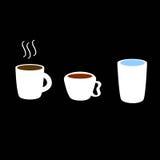 Café, thé, icône de l'eau Images stock