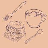 Café, tostada y huevos con tocino Ilustración del vector libre illustration