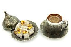 Café turco e loukoum fotos de stock royalty free