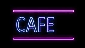 Café-und Pfeil-Leuchtreklame im Retrostil, der einschaltet stock abbildung