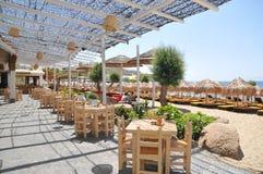 Café vazio de Mykonos Imagem de Stock